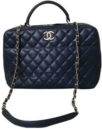 Chanel Bowling Bag Navy Leather Handbags