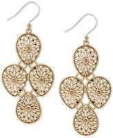 Lucky Brand Gold-Tone Openwork Teardrop Chandelier Earrings