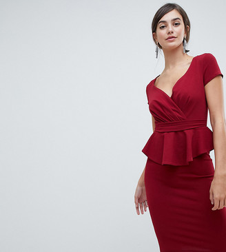 City Goddess Tall v neck peplum midi dress-Red