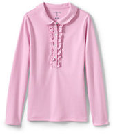 Classic Girls Long Sleeve Ruffle Placket Polo-Ice Pink