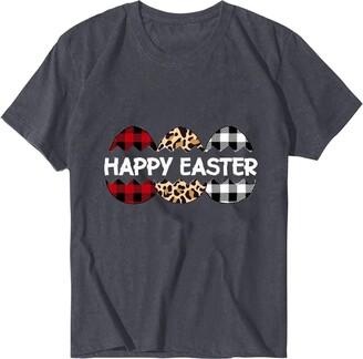 jieGorge Blouse Women Elegant Womens Fashion Easter Printed Short Sleeve Tops Blouse T-Shirt
