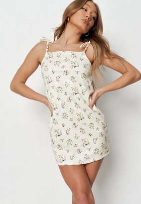 Missguided Yellow Floral Tie Strap Slip Dress