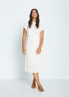 MANGO Violeta BY Pleated midi skirt white - M - Plus sizes