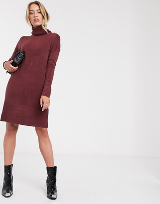 Only Jessie long sleeve roll neck midi dress