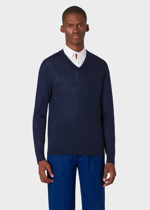 Paul Smith Men's Navy Merino Wool V-Neck Sweater