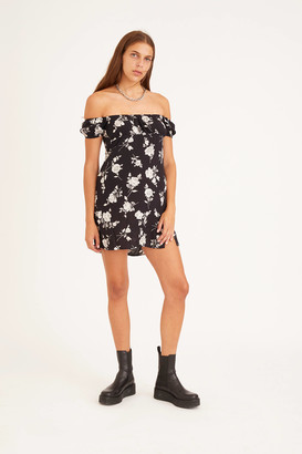 Motel Lonma Satin Puff Sleeve Mini Dress