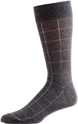 Marcoliani Milano Men's Mousse of Modal Windowpane Socks