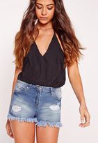 Missguided Mid Rise Ripped Shorts Mid Blue