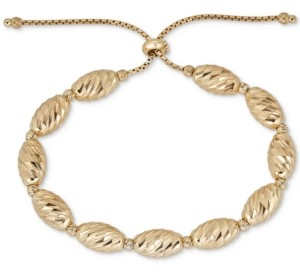 Italian Gold Textured Bead Bolo Bracelet in 14k Gold-Plated Sterling Silver