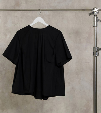 ASOS DESIGN Curve short sleeve cotton top with pleat back detail in black