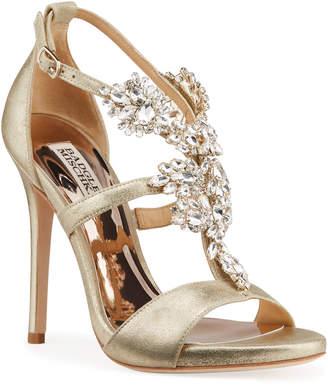 Badgley Mischka Leah II Embellished T-Strap Sandals