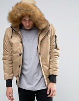 SikSilk Bomber Jacket With Faux Fur Hood