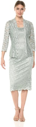 Alex Evenings Women's T-Length All Over Lace Dress with Jacket Set