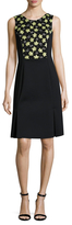 Carolina Herrera Embroidered Pleated Flared Dress
