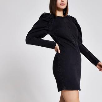 River Island Womens Black puff long sleeve denim mini dress