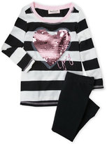 Juicy Couture Newborn Girls) Two-Piece Stripe Heart Top & Leggings Set
