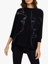 Phase Eight Farin Face Knit Jumper, Navy