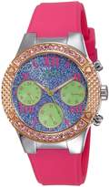 GUESS GUESS? W0773L3 Women's Rockstar Crystal Blue & Dial Pink Silicone Strap Watch