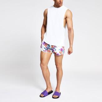 River Island Mens White floral runner swim shorts