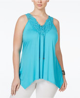 ING Trendy Plus Size Crochet-Trim Lace-Up Top