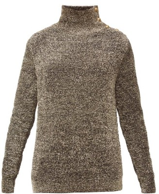 Balmain Buttoned-shoulder Metallic Sweater - Silver