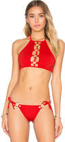 For Love & Lemons Mallorca Ring Halter Top in Red. - size L (also in M,S,XS)