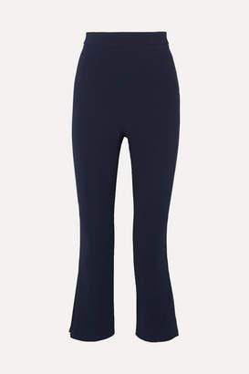 Cushnie Cropped Pleated Crepe Straight-leg Pants - Navy