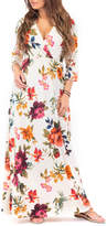 Off-White California Trading Group Women's Maxi Dresses OffWhite9 Floral Surplice Maxi Dress - Women