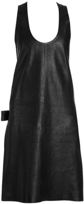 Bottega Veneta Grainy Leather Sleeveless Dress