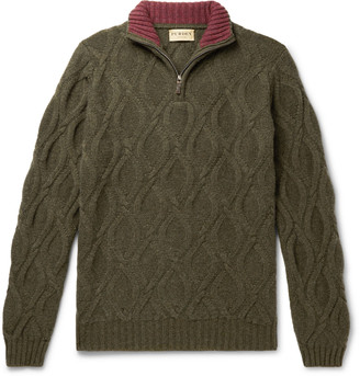 JAMES PURDEY & SONS Linton Cable-Knit Cashmere Half-Zip Sweater