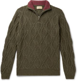 JAMES PURDEY & SONS Linton Cable-Knit Cashmere Half-Zip Sweater - Men - Green