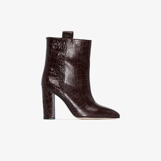 Paris Texas Brown 100 Mock Croc Leather Ankle Boots