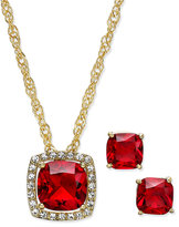 Charter Club Gold-Tone Red Stone Pendant Necklace and Stud Earrings Set, Only at Macy's