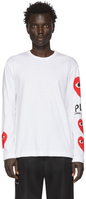 Comme des Garcons White Multi Heart Long Sleeve T-Shirt