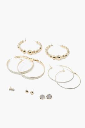 Forever 21 Glittered Hoop Stud Earring Set