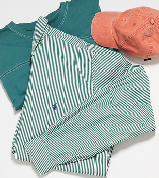 Polo Ralph Lauren Big & Tall player logo stripe stretch poplin shirt buttondown in green/white