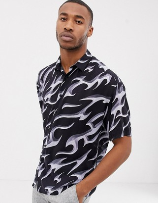 ASOS DESIGN oversized fit shirt in 90s style printed viscose