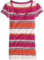 Aeropostale Striped V-Neck Tee