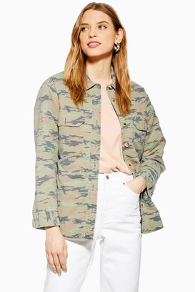 Topshop Womens Padded Camouflage Jacket - Khaki