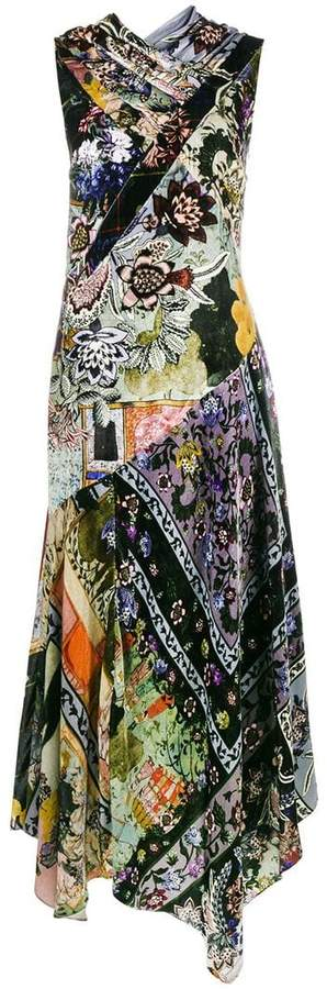 Erdem sleeveless floral print velvet panelled dress