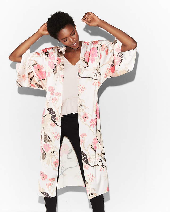 Express Petite Floral Kimono Sleeve Jacket