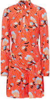 Thumbnail for your product : Self-Portrait Twisted Floral-print Crepe Mini Dress