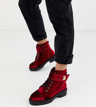 Asos Design DESIGN Wide Fit Annabel studded lace up boots in red velvet