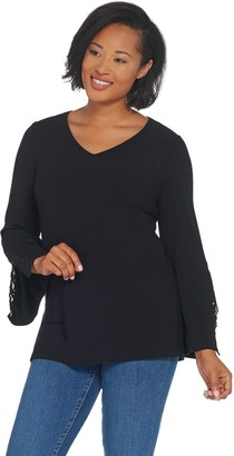 Susan Graver Textured Liquid Knit Tunic with Lace Trim