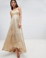 Bariano High Low Bandeau Maxi Dress In Metallic Jacquard