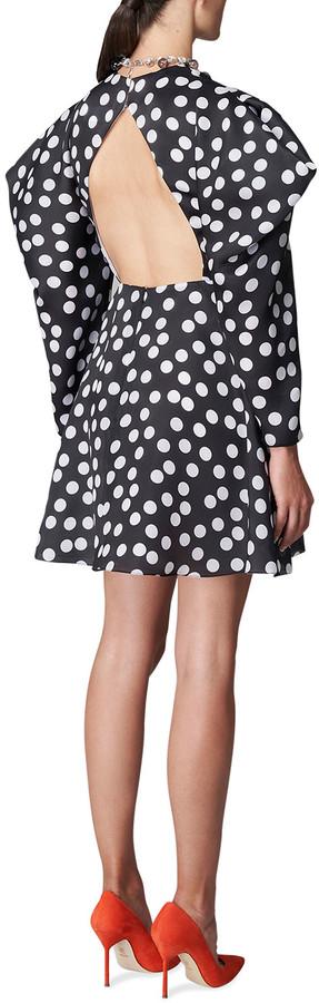 Thumbnail for your product : Carolina Herrera Polka Dot Puff-Sleeve Mini Dress