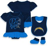 NFL San Diego Chargers Size 24M 3-Piece Girl Creeper Bib and Bootie Set
