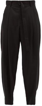 Edward Crutchley Dropped-rise Pleated Wool-sharkskin Trousers - Black