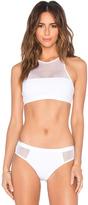 Alexander Wang Mesh & Matte Tricot Bikini Sports Bra Bikini Top