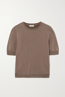 CASASOLA Net Sustain Ondina Ribbed Stretch-knit Top - Brown
